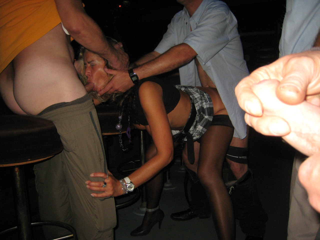 Swinger wife getting fucked in club bathroom