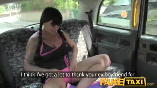FakeTaxi - big-boobed Brunette enjoys Scottish rod