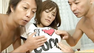Two hard cocks and a vibrator for Nagisa Ai