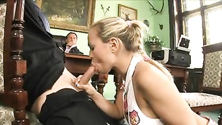 gorgeous school lady in stockings with large hooters gets screwed in her tight moist honeypot