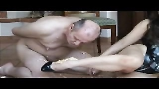 slave dinner under remarkable  brunette Mistress