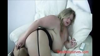 rotund big breasts blondy smokes & plays