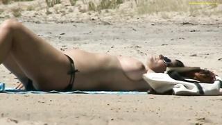large tits on beach