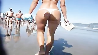 nice booty Walking on the Beach