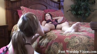dame Belle worshiping Cherry's perfect feet