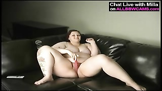 corpulent plumper butt masterbating on couch one