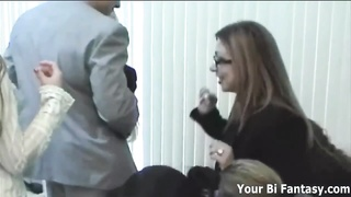 Secretary pummels the boss fellow with a strapon