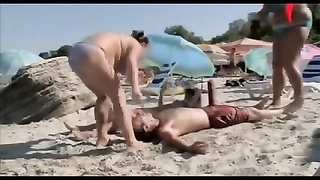 bare and hysterical big prick on Beach