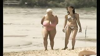 Retro big boobs mix on Russian beach