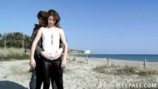Arab female banged in rear end  style on the beach
