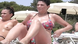8119brief HAIRED milf showing gigantic knockers AT THE BEACH.