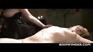 Femdom lesbian bondage And scorching paraffin wax