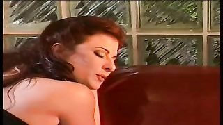 Hot lesbian bitch in leather eats pussy and dildo fuck girl's cunt in the sofa