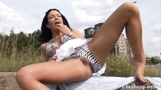 daring brunette flashers public masturbation and hairless
