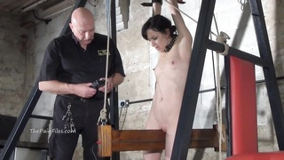 9719low electro bdsm and wooden plot restrain bondage  of slave Elis