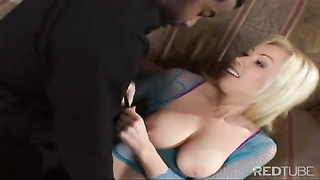 big-chested blonde Adrianna Nicole takes murky knob