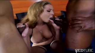 yellow-haired gets her face spanked  with shaft