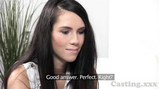 Castingxxx introverted brunette takes cum shower