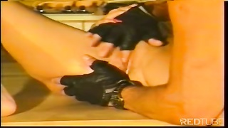Vintage hunk pounds blondie in the kitchen