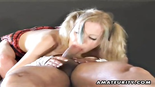 youthful fledgling  gf gargles  and pounds with facial cum shot
