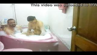indian couple taking bath soaping each other bhabhi poked  hard