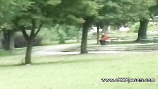 42371nervous blondy milf flashing in the park