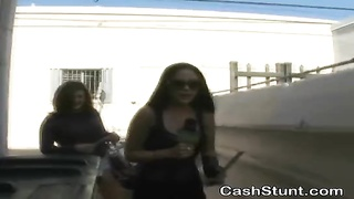 inexperienced ladies Flashing For Cash In Money Talks Stunt Outdoors