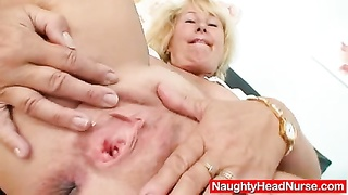 blonde milf Greta big natural knockers and uniform