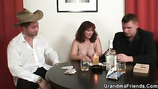 tough 3some with oldie after strip poker