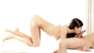 Nubile Films - Erotic rubdown  leads to chaotic facial