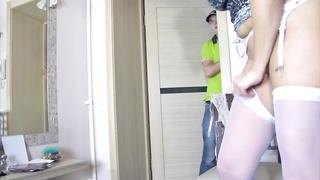 48913lovely mom in stockings & boy