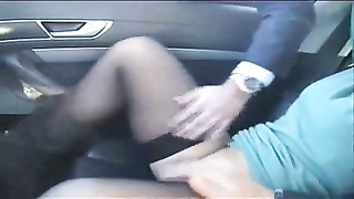 Exhibition of my slut in car frigged  by stranger. Public