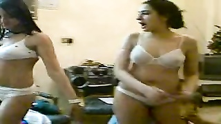 2 arab ladies dancing in lingerie