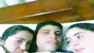 Arab man smooch  two Arab (Egyptian) female in bed