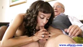 old english lad drills youthful brunette honey