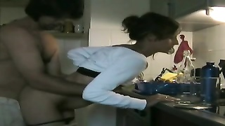 insane  Cheating wife gargling  Lover's spunk  in the kitchen