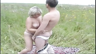former Mom and her boy on nature! Russian amateur!