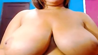 70311huge knockers, small nipples up close being rubbed