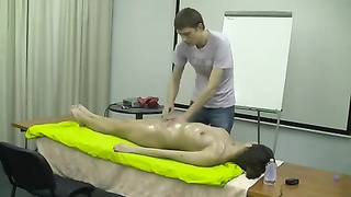 Nude inexperienced rubdown  demonstration - glowing slim brunette