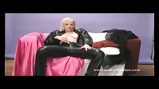 crazy yellow-haired plays with wet and tasty twat in tight leather
