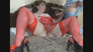 A chubby Redhead-Russian-MILF anal by youthful dude