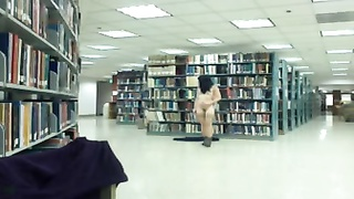 chinese damsel getting naked on webcam in public library pt. 2