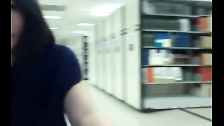 asian teenage  flashes in public library