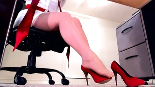 perfect gams  in nude stockings and red heels
