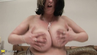 big titted old whore mom playing with herself