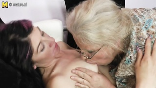 old old lady turns young female into lesbo