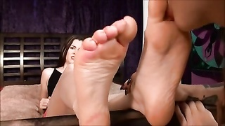 She experiments with damsels  by letting one lick her feet!