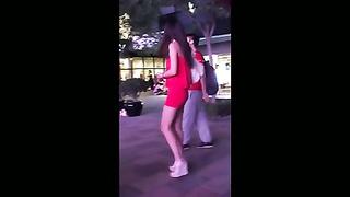 hot leggy dick in crimson  mini dress