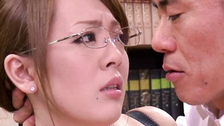 oriental with large tits stripping at the office