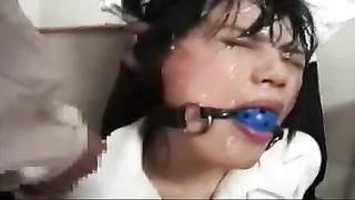 Japanese slut coated bukkake 6